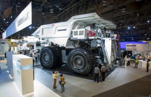 Liebherr equipment is on display at the MINExpo International mining equipment show at the Las Vegas Convention Center in Las Vegas on Monday, Sept. 26, 2016. CREDIT: Mark Damon/Las Vegas News Bureau